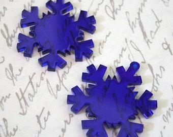 3 x Laser cut acrylic snowflake charms