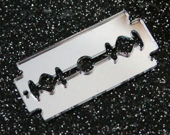 2 x laser cut silver mirror acrylic razor blade charms