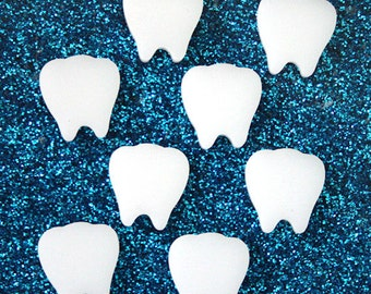 8 x Laser cut acrylic tooth cabochons