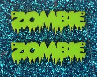 2 x Laser cut lime green acrylic ZOMBIE pendants