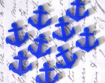 8 x Laser cut acrylic tiny blue anchor charms