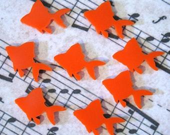 8 x Laser cut acrylic goldfish cabochons