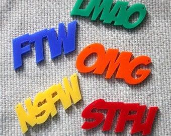 5 x laser cut acrylic word pendants - internet acronyms