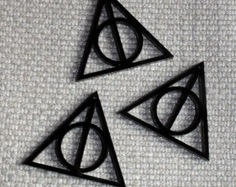 3 x laser cut acrylic Deathly Hallows charms