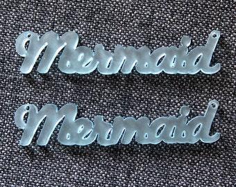 2 x Laser cut acrylic Mermaid pendants