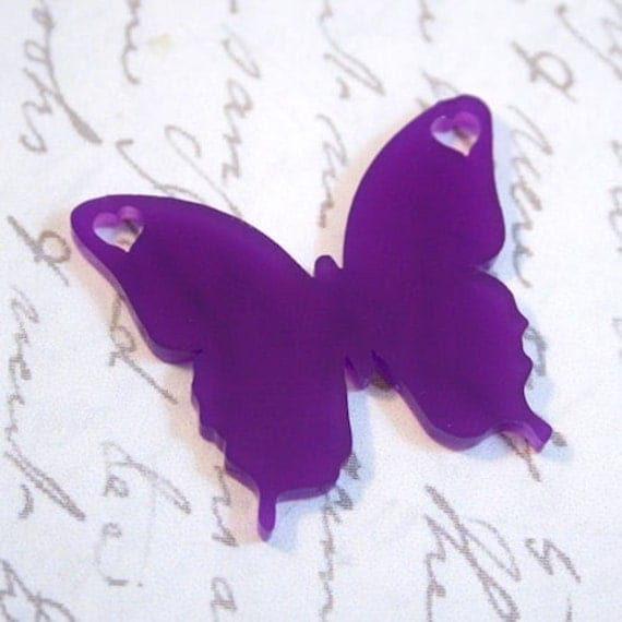 2 x laser cut acrylic Butterfly pendants - ANY COLOUR