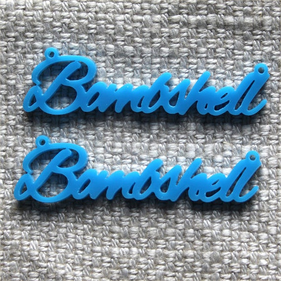2 x Laser cut acrylic Bombshell pendants