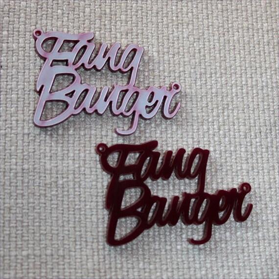 2 x Laser cut acrylic Fang Banger pendants