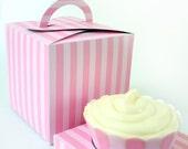 Posh Pink Stripe Printable Cupcake Holder Box