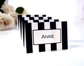 Bold Stripe Place Editable Cards Black and White