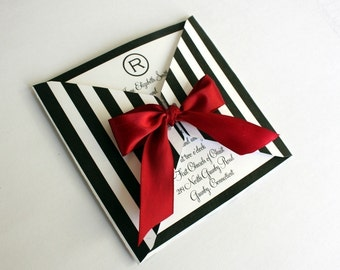 EDITABLE Printable  Black and White Striped Square Wrap Invitation