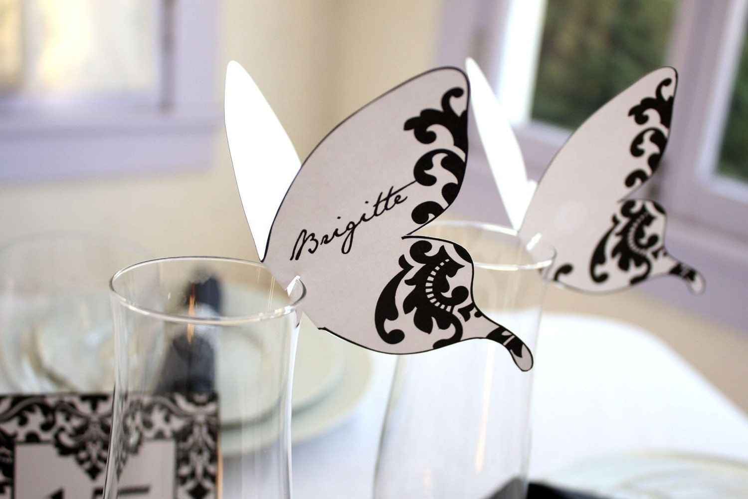 Damask Butterfly Place Cards Black Print As Many You Need