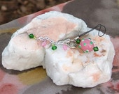 Bag, Purse, Phone charm with Indian glass beads in pink, green and silver
