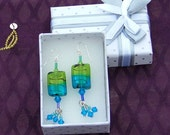 Silver Blue Green dangle earrings with glass beads and Swarovksi crystals
