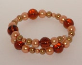 Autumn pearl bracelet with glass beads and faux pearls