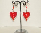 Red heart dangle earrings with hand made copper ear wires