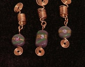 Set of 3 Copper dreadlock or braid cuffs beads with spirals & pink beads