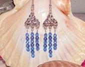 Blue Crystal and Pearl Dangle Earrings