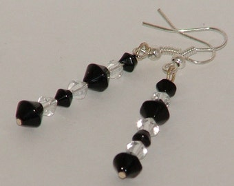 Silver Dangle Earrings With Black And Clear Glass Bicone Beads
