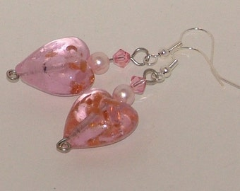 Silver and pink dangle earrings with foiled lampwork beads and Swarovksi crystals
