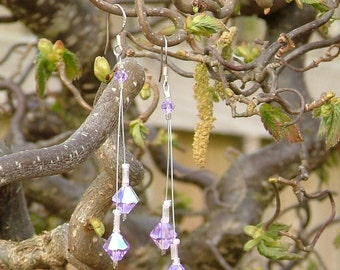 Violet lilac Swarovski crystal and sterling silver dangle earrings