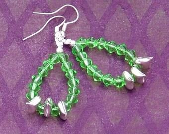 Light green and silver loop earrings