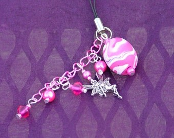 Bag purse charm zipper pull with fairy charm in pink and silver