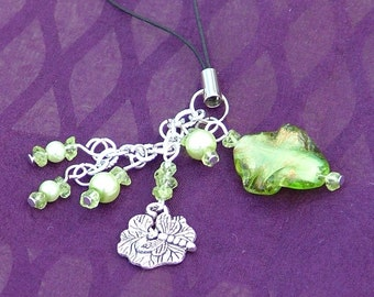 Handbag purse charm zipper pull with glass lampwork bead in green and silver