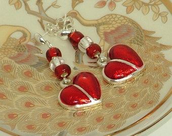 Silver And Red Heart Charm Earrings