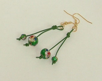Green And Gold Cloisonne Dangle Earrings