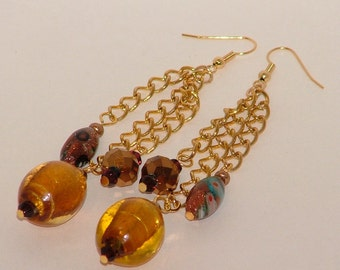 Gold And Brown Dangle Lampwork Earrings