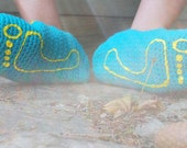 Slippers Teal and Yellow Mary Jane SZ L