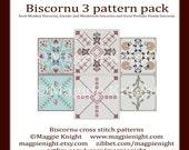 Biscornu 3 PDF pattern pack B2G1FREE - Gnome and Mushroom, Sock Monkey, and Good Fortune Panda biscornu patterns