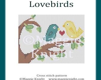 Lovebirds original PDF cross stitch pattern