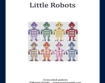 Little Robots PDF cross stitch pattern