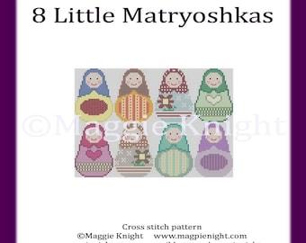 8 Little Matryoshkas - Original PDF Cross Stitch Pattern
