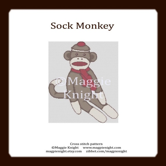 Sock Monkey PDF original cross stitch pattern