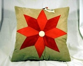 8 Point Star Applique Leather Pillow