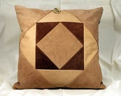 Brown and Tan Twisted Squares Leather Pillow