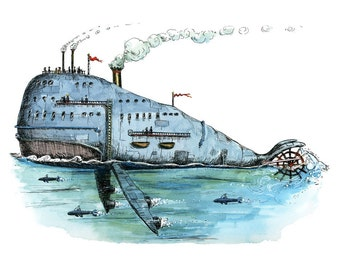 Steamboat Whale, 8 x 10 print.