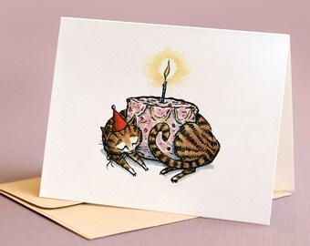 Cake Cat, individual birthday card.
