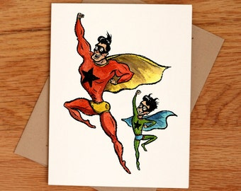 Superdad and Son, individual Fathers Day card.