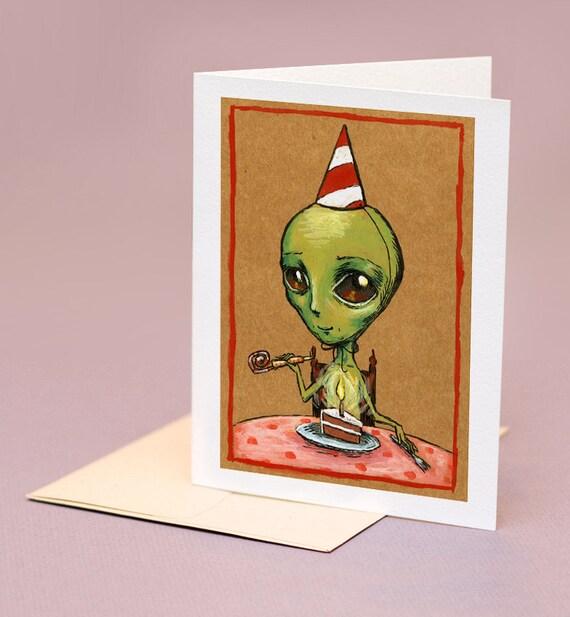 Birthday Alien,  quirky birthday card.