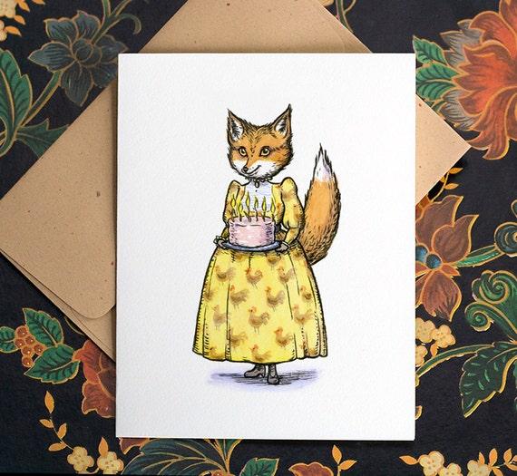 Fox with Cake, individual birthday card.
