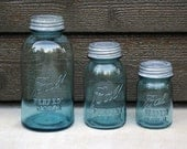 8 Blue Vintage Ball Perfect Mason Jars - Graduated Set of Pint, Quart and Half Gallon