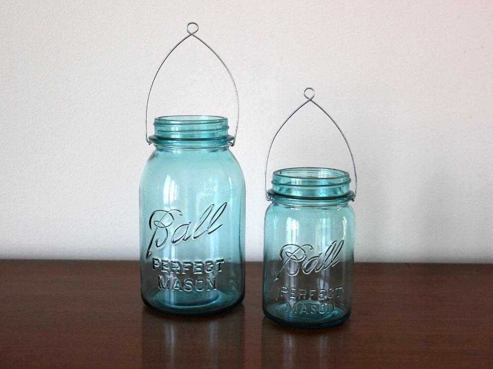 Hanging Mason Jar Lanterns Blue Jars And Hangers 4 Pint And