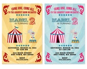Custom Circus Printable Invitation in Any Color of You Choice