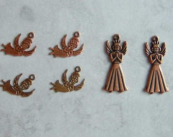 6 Angel Charms - 4 Flying Angels and 2 Praying Angels