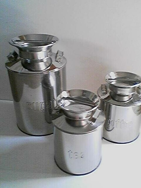 Vintage Chrome Milk Pail Canister Set