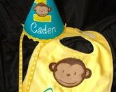 Modern Monkey Boy 1st First  Birthday Hat and bib set